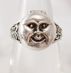 Vintage sterling Man in the MOON Poison Ring Mystical hidden treasure box size 7 1/2 via Etsy