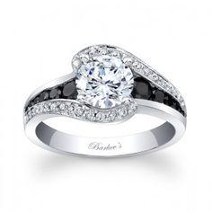Modern Black Diamond Engagement Ring - 7898LBKW