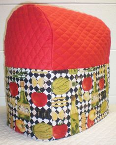 Red Quilted Italian Kitchen Theme Cover for Sunbeam Heritage Series 4.6qt Mixmaster Stand Mixer w/6 Pockets