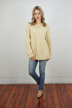 Vtg 60s Cream Wool Knit Slouchy Fisherman Jumper Sweater Top Medium Large | eBay