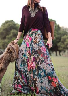 Burgundy pull, floral maxi skirt, boho romantic fall winter outfit idea