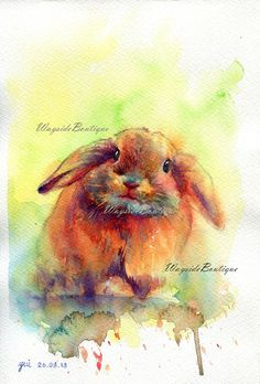 Rabbit  ORIGINAL watercolor painting 75x11 by WaysideBoutique, $18.00
