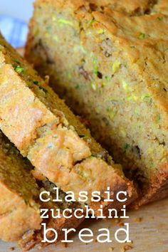 You just can't improve on Classic Zucchini Bread, so I won't even try. This is the Grandma approved, moist, tender, fabulous zucchini bread you'll love! Köstliche Desserts, Delicious Desserts, Yummy Food, Dessert Bread, Bread Cake, Zucchini Bread Recipes, Zuchinni Bread, Moist Zucchini Bread, Paleo Bread