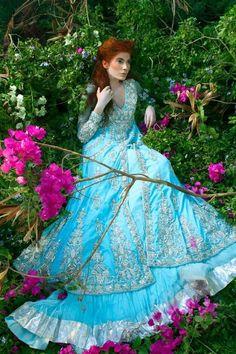 Blue lengha by Mina Hasan