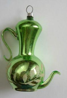 Vintage Antique Mercury Glass Blown Teapot Tea Christmas Ornament Green