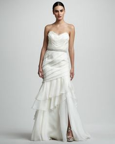 Tiered Organza Mermaid Gown by Theia at Neiman Marcus.
