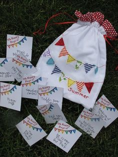 """Happy Days of Summer"" bag with free printable cards: write down one special event/outing for each week of the summer for kids to look forward to.  www.coachadhd.com  #mentalawareness, ADD, ADHD, weddings, events, sports, #summerfun, #60daysofsummer"