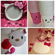 DIY Hello Kitty Party Decor Cups Plates Placemat Lantern and like OMG! get some yourself some pawtastic adorable cat shirts, cat socks, and other cat apparel by tapping the pin! Kitty Party, Hello Kitty Theme Party, Hello Kitty Themes, Hello Kitty Cake, Diy Hello Kitty Birthday Party Ideas, Hello Kitty Birthday Cake, Birthday Ideas, Cat Birthday, 1st Birthday Parties