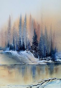 Winter forest on the lake painting easy watercolor painting idea winter painting ideas Watercolor Paintings For Beginners, Beginner Painting, Easy Watercolor, Watercolor Landscape, Landscape Paintings, Landscapes, Watercolor Projects, Nature Paintings, Watercolor Scenery
