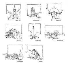Sehenswürdigkeiten Darmstadt, Architekturzeichnung - New Sites Croquis Architecture, Architecture Drawing Sketchbooks, Conceptual Architecture, Urban Architecture, Drawing Sketches, Art Drawings, Drawing Ideas, Contour Drawing, House Drawing