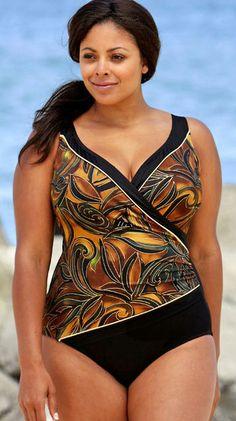 Longitude Brown Mystique Surplice Plus Size Swimsuit