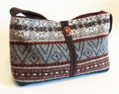 Felted FAIR ISLE SWEATER Purse / Brown / (Ooak)  from Upcycled Fair Isle Cardigan Vest and Sweater  / Eco Friendly Gift