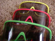 set of 3 vintage neon #80s new old stock retro ski sunglasses goggles polarized from $125.0