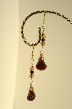 Amethyst Glass Teardrop Gold Wire Wrapped Dangle Earrings on Etsy, $16.00