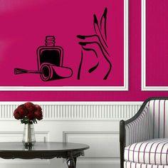 Manicure Wall Decals Girl Hand Spa Decor Nails Design Beauty Salon Bath And Beauty Vinyl Sticker Home Decor Bathroom Art Wall Decor KG508