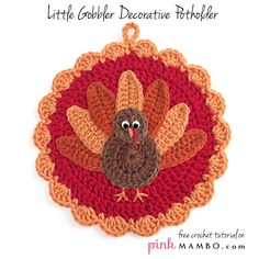 Free Pdf pattern for Crochet Little Gobbler Decorative Turkey Potholder by Carolyn Christmas aka pinkmambo.com