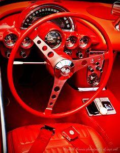 RED CORVETTE DASHBOARD Classic Car Antique by ElizabethThomasPhoto #DashKIts #DashTrimKit #CustomInteriors #Rvinyl