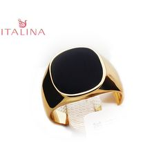 Real Brand Italina Rings For Men Hot Rose Gold Plated Men's Fashion Wedding Ring Black New Arrival Vintage Jewelry For Male