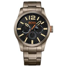 Features a gunmetal plated stainless steel case, black textured chronograph dial and gunmetal bracelet strap. Comes with a 2 year manufacturer's guarantee. Hugo Boss Watches, Gents Watches, Watches For Men, Montres Hugo Boss, Hugo Boss Orange, Boss Black, Boss Man, Casio G Shock, Paris