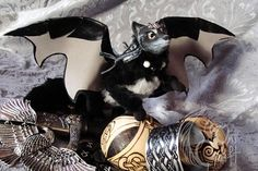 FOR SALE Black Fox Morgaine OOAK poseable art doll resin