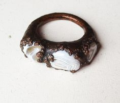 Tatted Lace Ring  Electroformed Copper and Lace by StudioJardine,
