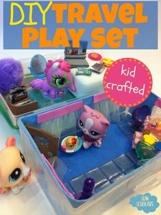 DIY Travel Play Set - A simple play set created from a pencil box, by a 9 year old!  Fill it with small figurines and accessories, and it is perfect for taking along for long car rides, waiting at the doctor's office, or at a restaurant.  A great tutorial for a fun homemade project for the kids!