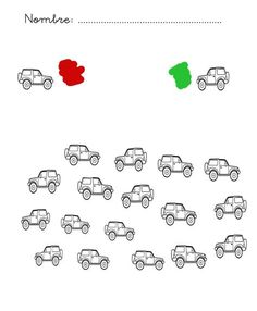 Color the cars according to which direction they are facing. Infantil al aula Preschool Writing, Preschool Learning Activities, Learning Tools, Teaching Kids, Kids Learning, Maps For Kids, Worksheets For Kids, Special Education, Classroom