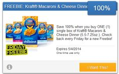 SavingStar $$ New eCoupon Available: Save 100% When You Buy One Single Box of Kraft Macaroni & Cheese Dinner!