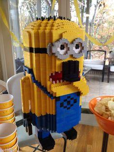 Lego minion birthday centerpiece - my dad made this!