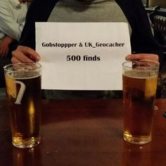 Me and my caching buddy @gobstoppper_geocacher both celebrating 500 finds over a pint!  #geocaching #geocache #microcache #travelbug #foundit #trackable #TFTC #customcache #UK_Geocacher #cache #cute #instagood #fun #love #instacool