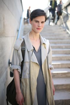 This could be a man's hair cut and it looks awesome. (Mmm, androgyny)  (calivintage: street style byWWD.com.)