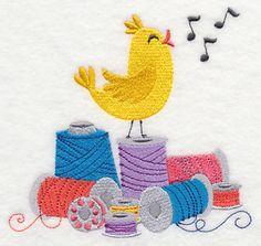 "2 Sizes: 5.17""(w) x 4.85""(h) (131.4 x 123.3mm) & 3.89""(w) x 3.66""(h) (98.8 x 92.8mm) Singing Spools Birdie"