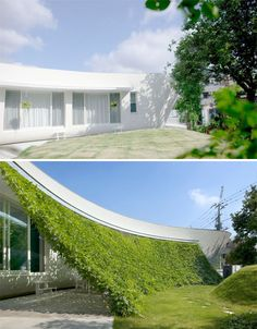 Hideo Kamaki Architects - The facade of a curving modern home in Saitama, Japan gets a pop of color and a shaded outdoor lounge area thanks to a creative green screen.