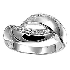 Sterling Silver Women's Infinity White CZ Ring Wholesale 925 Band Size 8 (RNG12362-8) -- Visit the image link more details.