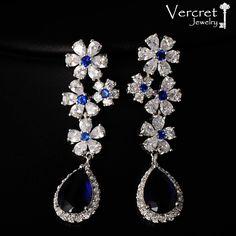 Stunning Jewelry Design In Cubic Zirconia Silver Jewellery Online, Silver Jewellery Indian, Diamond Jewelry, Diamond Earrings, Sterling Silver Jewelry, Silver Earrings, Dangle Earrings, Flower Earrings, Cheap Earrings