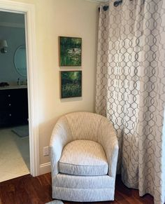 Paintings by Karen Wykerd in their new home in California 🌿  Furniture, Accent Chairs, Selling Artwork, Home, Wall Of Fame, New Homes, Tub Chair, Wall, Chair