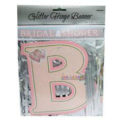 Bridal Shower Glitter Fringe Banner (1ct) || Hard To Find Party Supplies
