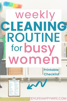 Don't have an extra day every week to clean the house? Check out these daily habits and weekly cleaning routine checklist for busy women. Household Cleaning Schedule, Cleaning Schedule Printable, Weekly Cleaning, Cleaning Checklist, House Cleaning Tips, Diy Cleaning Products, Deep Cleaning, Spring Cleaning, Cleaning Hacks
