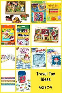 Fantastic Travel Toy Ideas for Long Mileage Trips with Kids. At the end, go to #5 and click the link, a lot of cute ideas in that post as well.