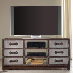 """Mélange 60"""" Bondurant Entertainment Console with Leather and Nailhead Trim Accents by Hooker Furniture - Olinde's Furniture - TV or Computer Unit Baton Rouge and Lafayette, Louisiana"""