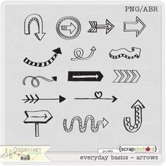 Digital Scrapbook Doodles Everyday Basics Arrows | Product no longer available, but they're still good doodling inspiration