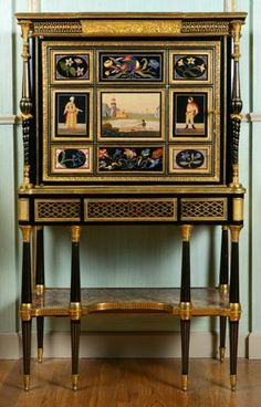 Louis XVI -Secretaire With Florentine Mosaic Plaques s Signed By Adam Weisweiler