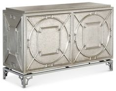 Keaton Hollywood Regency Silver Storage 2 Door Cabinet transitional-buffets-and-sideboards - bar front concept