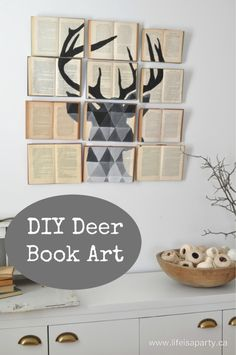 DIY Projects Made With Old Books - DIY Deer Book Art - Make DIY Gifts, Crafts and Home Decor With Old Book Pages and Hardcover and Paperbacks - Easy Shelving, Decorations, Wall Art and Centerpices with BOOKS http://diyjoy.com/diy-projects-old-books