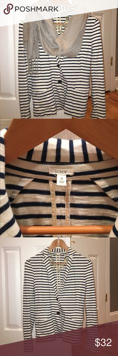 J Crew Navy striped blazer Comfortable, versatile navy and white striped 100% cotton Blazer can be dressed up or down. In great condition worn only a few times. J. Crew Jackets & Coats Blazers