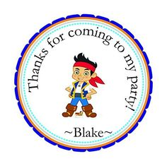 Set of 12 Jake and the Neverland Pirate Custom Personalized Birthday Party Favor Stickers, Round 2.5, Envelops Treat Tags Stickers, --By Beauty and Brains Girls Party Favor Labels Tags On Amazon-PLEASE LEAVE THE name YOU WANT ON YOUR STICKERS- -Please note that missing information will add to the turnaround time., http://www.amazon.com/dp/B011GOZLEI/ref=cm_sw_r_pi_awdm_ICUSvb0BVWSSP