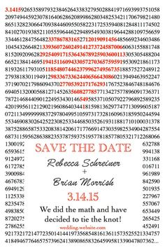 Pi Day Save the Date by InFocusDesigns on Etsy. This is our idea for invitations! Hopefully she can edit them. Pi Day Wedding, Our Wedding, Dream Wedding, Wedding Bells, Save The Date Invitations, Wedding Invitation Cards, Wedding Stationery, Day Of My Life, Wedding Save The Dates