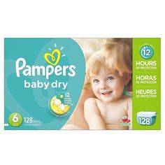 Diapers Pampers Baby Dry Size 6 Economy Pack Plus 128 Count One Month Supply New #Pampers