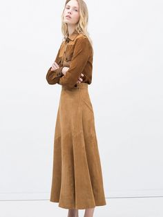 I need this Zara Suede shirt and Skirt combo stat