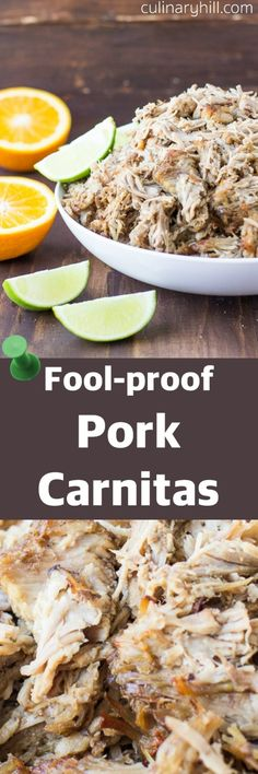 This two-part, fool-proof method ensures tender, melt-in-your-mouth pork carnitas with golden brown crispy edges. Every single time.